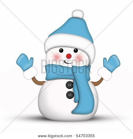 Illustration of an amusing snowman dressed in blue