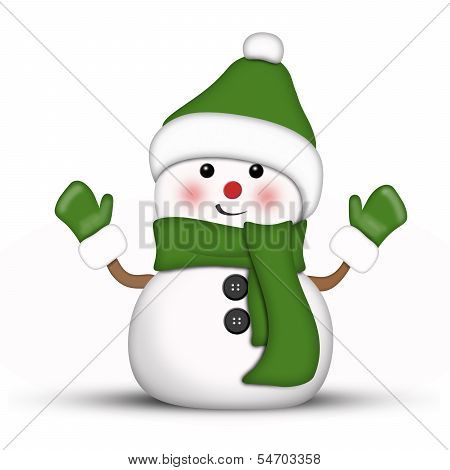 Illustration of an amusing snowman dressed in green