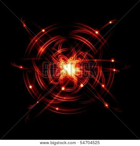 Image of color atoms and electrons. Physics concept