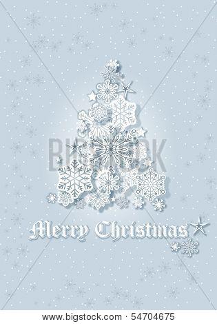 Christmas Snowflakes Tree Greeting Card