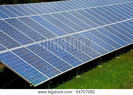 Solar plates for green sun energy in a row