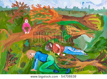 Children Drawing - After Windstorm In Forest