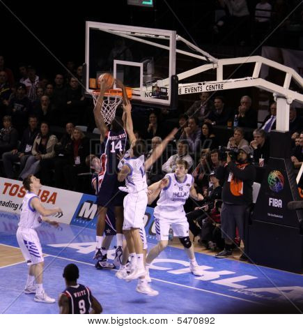 Basketball Game  Between Usa And Greece
