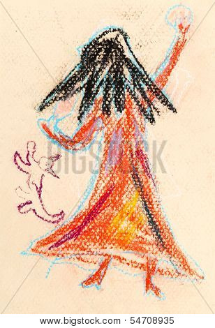 Children Drawing - Little Witch