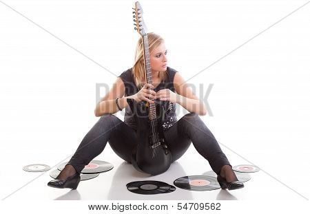 Woman With Guitar Listening To Music Isolated White Background