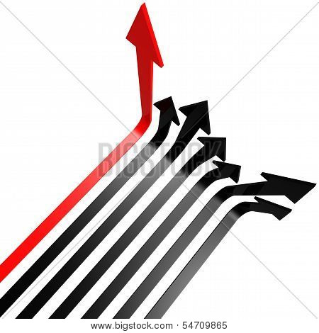 Red black line arrow