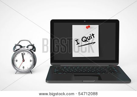 Alarm Clock With Laptop Computer And I Quit Sign