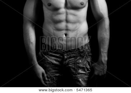 Torso Of Muscular Man With Sexy Abdomen