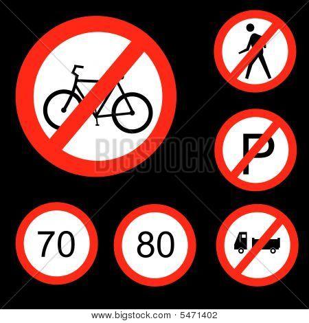 Six Round Prohibitory Road Signs Set 3