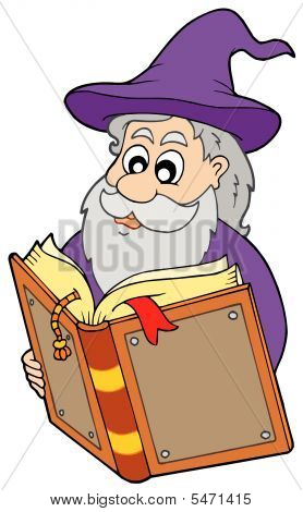 Wizard Reading Magic Book