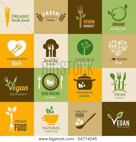 Icons representing healthy, organic and vegetarian food