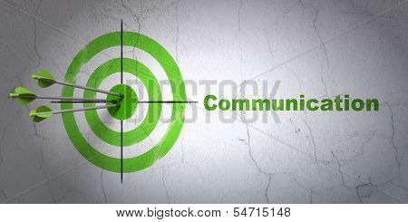 Marketing concept: target and Communication on wall background