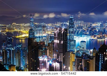 Hong Kong skyline from Peak at mid night