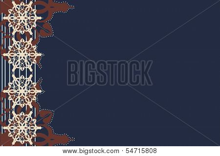 dark blue background with a lateral pattern.