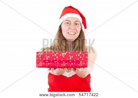 Mrs. Claus Giving Beautiful Red Gift To You
