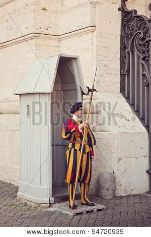 Pontifical Swiss Guard In His Traditional Uniform
