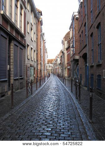 Typical Cobbled Street Lille France