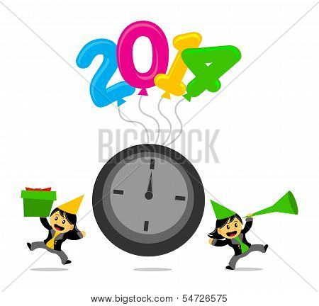 New Year 2014 Cartoon Character