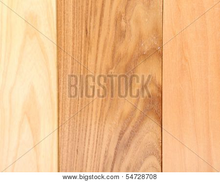 Background of three boards (linden, elm, acacia)