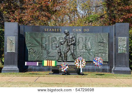 WASHINGTON, DC - NOV 12: National Seabee Memorial, Arlington National Cemetery in Arlington, Virginia on November 12, 2013. The Memorial was sculpted by a former SEABEE, Felix de Weldon