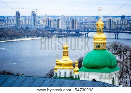 Onion Steeples Of Lavra Monastery In Kiev
