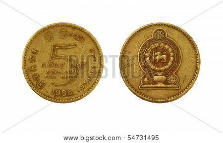 Five Sri Lankan Rupee Coin