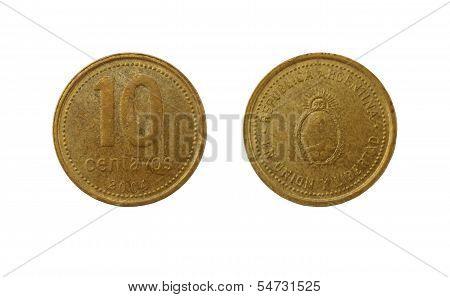 Ten Argentinian Peso Centavos Coin