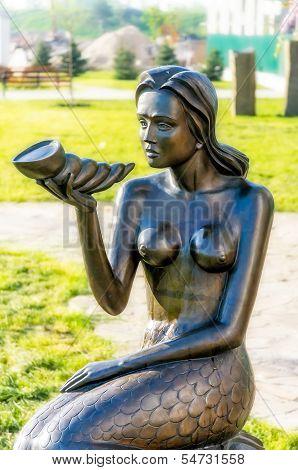 Mermaid Statue With Cornucopia