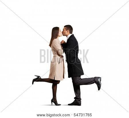 kissing couple in love over white background