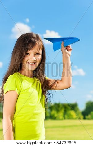 Little Girl Happy Child With Paper Plane
