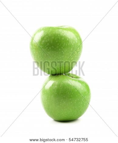 Granny Smith of apple from low perspective.
