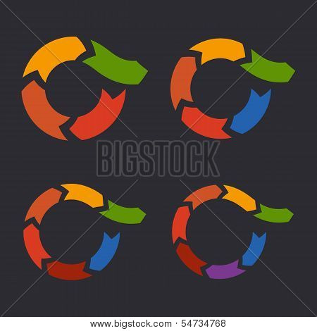 Unusual Circle Arrows Set. Vector