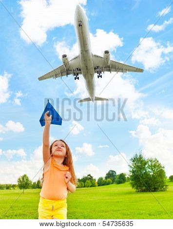 Happy Child With Paper Plane