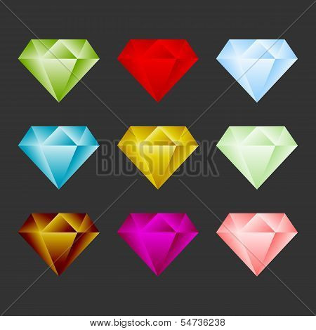Gem Icon Set. Game Resource Or Emblem. Vector