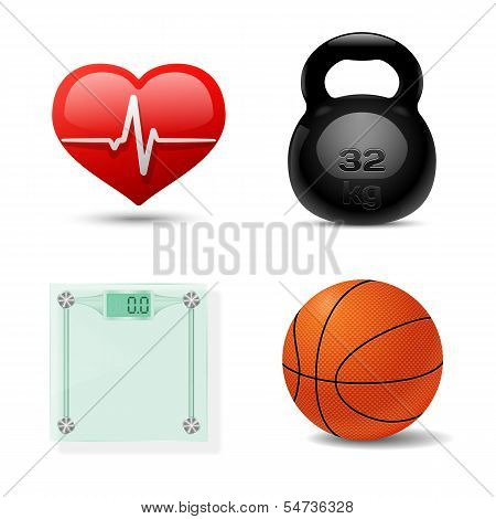Sport And Fitness Icon Set. Vector