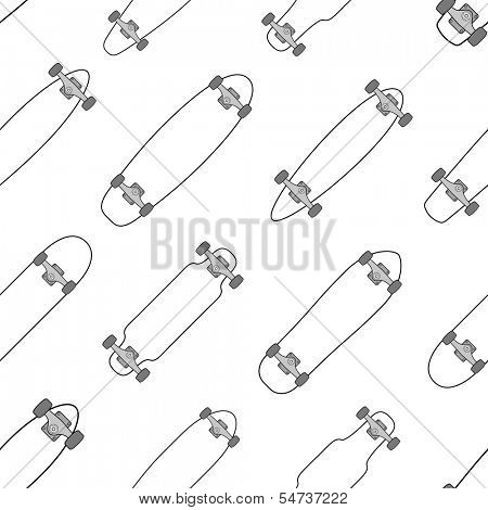 Various shaped skateboards and longboards seamless pattern background texture