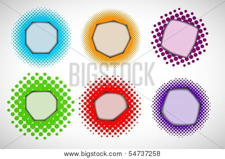 Collection of colorful halftone 3d hole effect frames