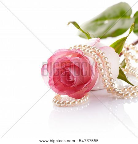 Pink Rose And Pearl Beads.