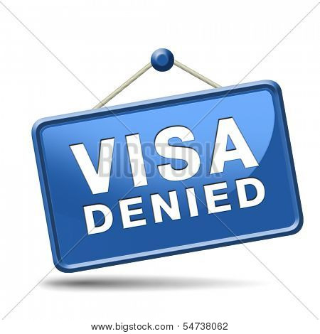 visa denied or rejected immigration stamp for crossing the border passing customs for tourism and passport control approval to enter country