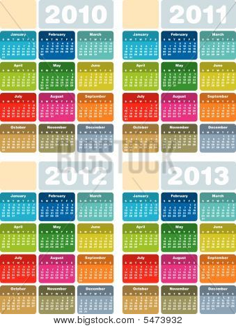 Calendar for years 2010, 2011, 2012 and 2013