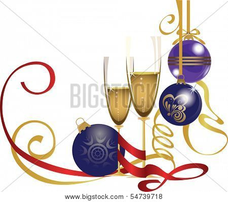 glasses of champagne and glass balls, christmas attributes