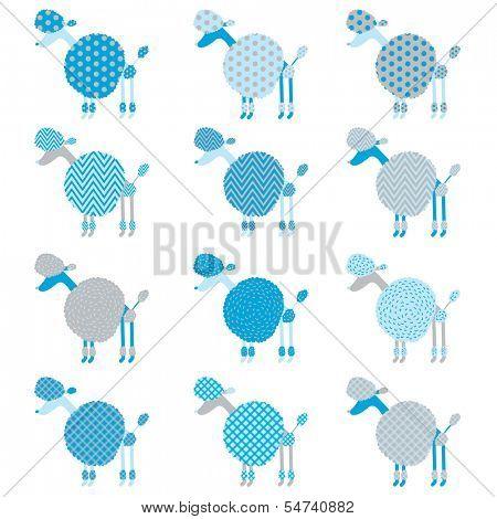 Blue Grey Poodle pattern