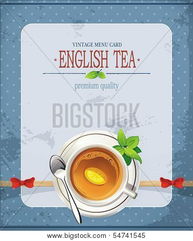 Elegant romantic card with porcelain tea cup and a saucer and empty place for text