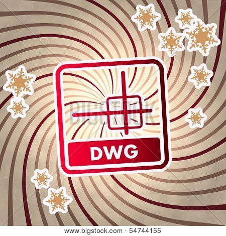 Red Vintage Wooden Dwg File Symbol