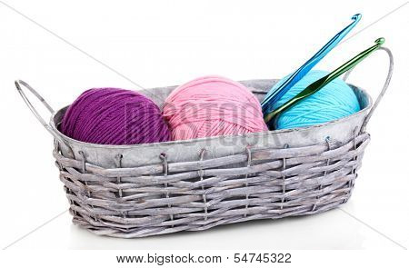 Bright threads for knitting in basket isolated on white