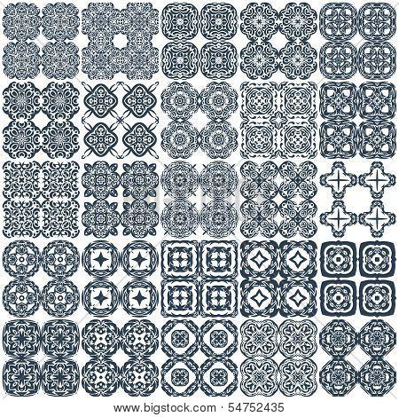 Set of 25 geometrical seamless vector patterns