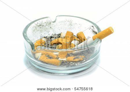 A dirty ashtray