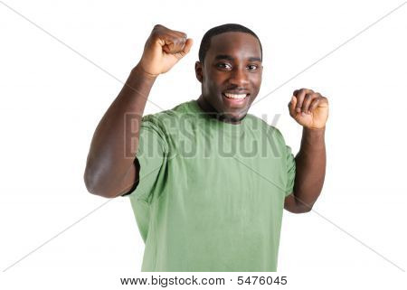 Young Student With His Arms Raised Celebrating Success.