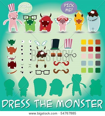 Set of cute little monsters for dress up, vector illustration