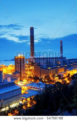 Gas storage spheres tank in petrochemical plant in sunset